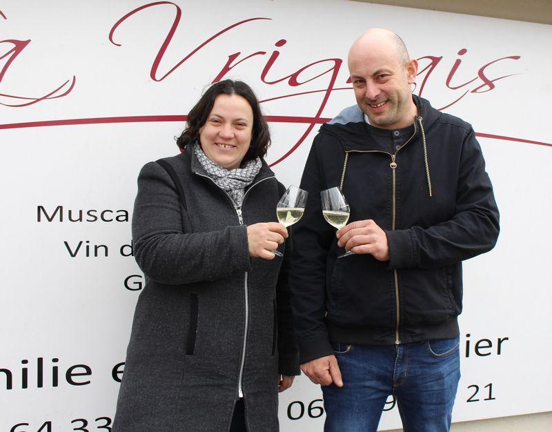 Emilie et Olivier Bachelier, vignerons à Aigrefeuille-sur-Maine et lauréats de la Pipette d'Or 2018.
