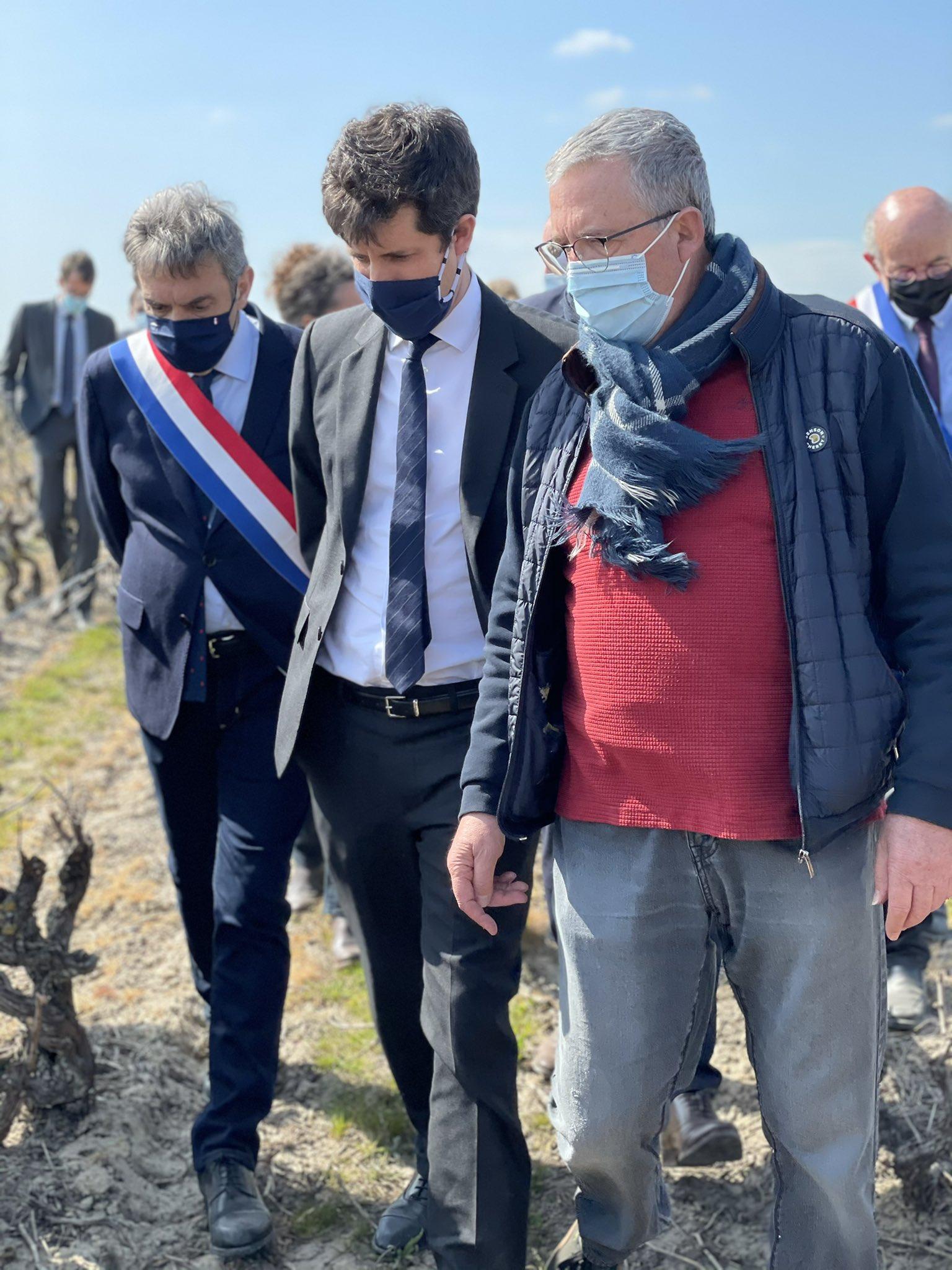 Julien Denormandie s'est rendu à Vouvray vendredi guidé par Benoit Gautier (à droite), président des Vignerons de Touraine.